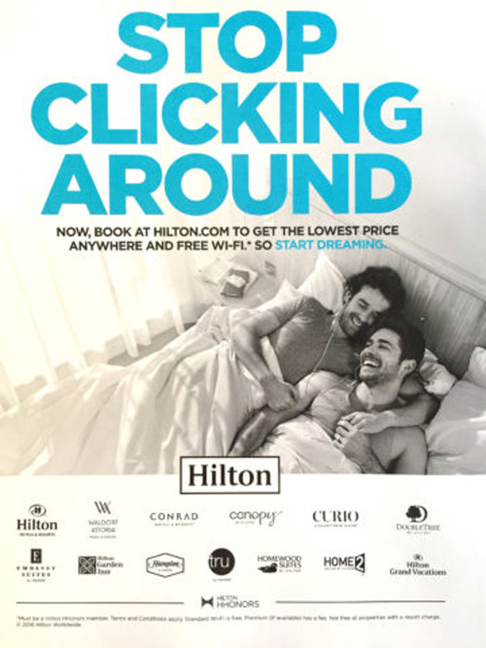 Hilton, Stop Clicking Around, gay, same-sex couple, bed, American Family Association