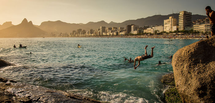Rio de Janeiro, Brazil, divers, beach, sea, ocean, city, skyline, geography, mountains, summer