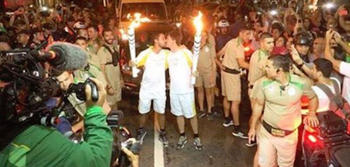 Brazil, Rio, Rio 2016, Summer Games, Olympics, same-sex, gay, bisexual, bi, male, kiss, torchbearers