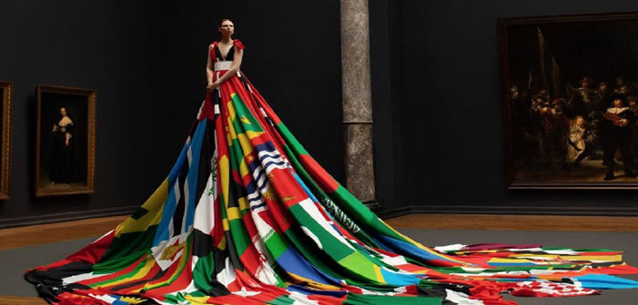 Trans Model Rocks Dress Made of Anti-LGBT Countries' Flags