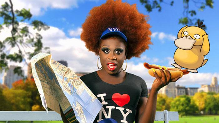 Bob the Drag Queen, RuPaul's Drag Race, Pokémon, Pokémon Go, Psyduck, picture, hot dog, New York, NYC, hot dog