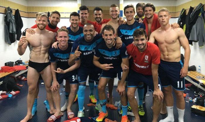Middlesbrough, soccer, football, team, Adam Clayton, briefs, testicle, scrotum
