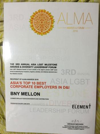 BNY Mellon, ALMA Award, China