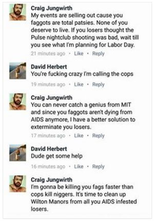 Craig Jungwirth, Orlando, Pulse, shooting, threat, MIT, Florida, Wilton Manors, David Herbert, Facebook, comments