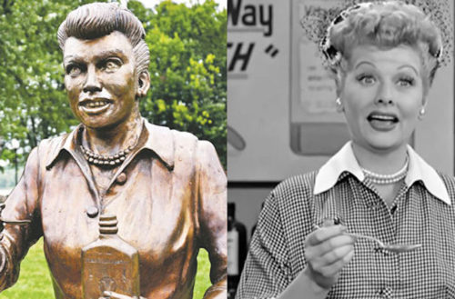 Lucille Ball, Scary Lucy statue, I Love Lucy, vitameatavegemin