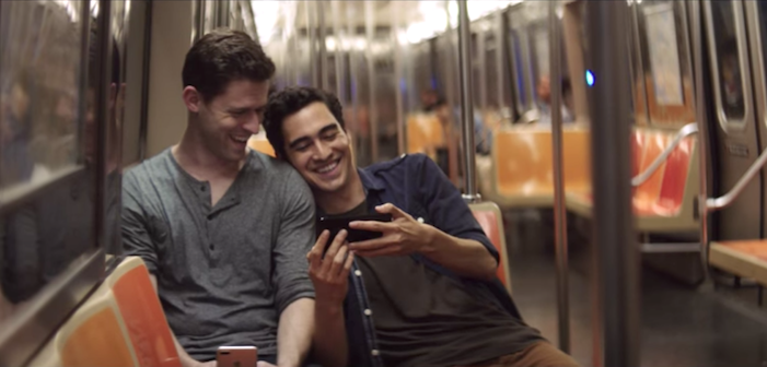 iphone, apple, iphone 7, gay couple, advertising, subway, cute, adorable, gay, queer, lgbtq