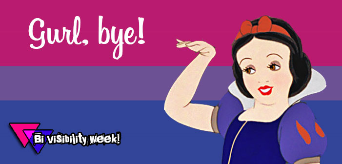 bisexual flag, snow white, bi visibility week, gurl bye, girl bye