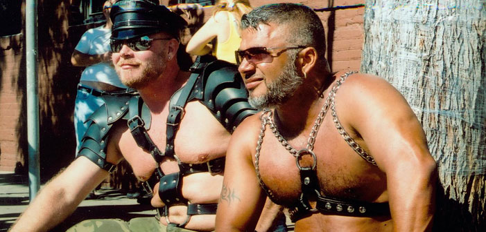 Folsom Street Fair, BDSM, kink, sexy, shirtless, dudes, men, daddies, silver, chains, harness