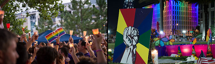 Orlando, Pulse, vigil, candles, art, mourning, art, rainbow, LGBT, LGBTQ, shooting, Lake Eola