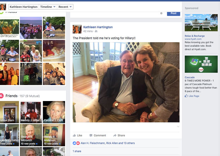 George H. Bush, Hillary Clinton, Facebook, Kathleen Hartington Kennedy Townsend, pic