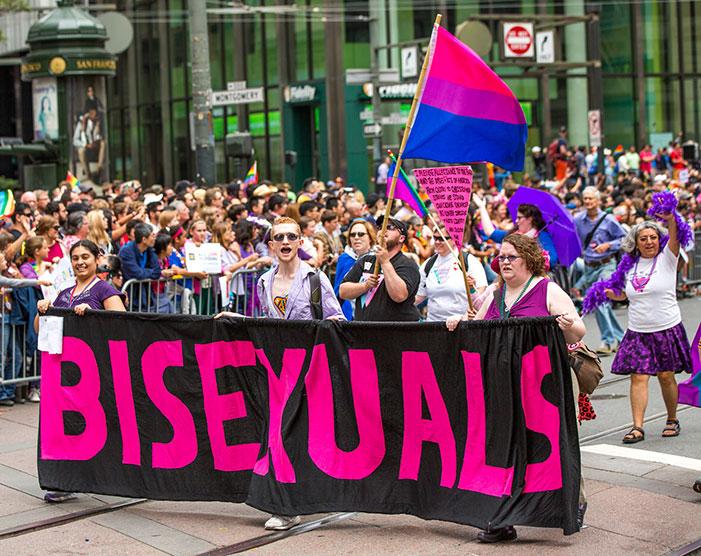 bisexual, pride, parade, protestor, marchers