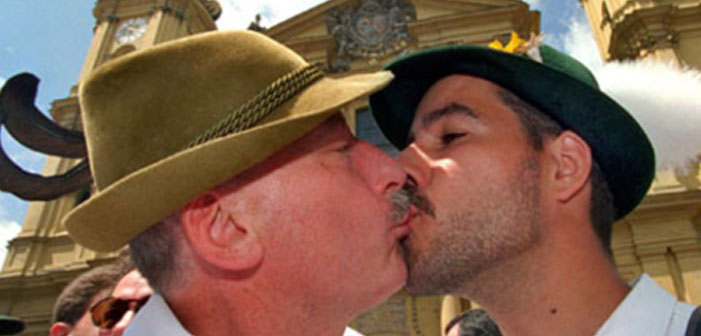 Gay, Germany, men, kissing, Europe, scruff