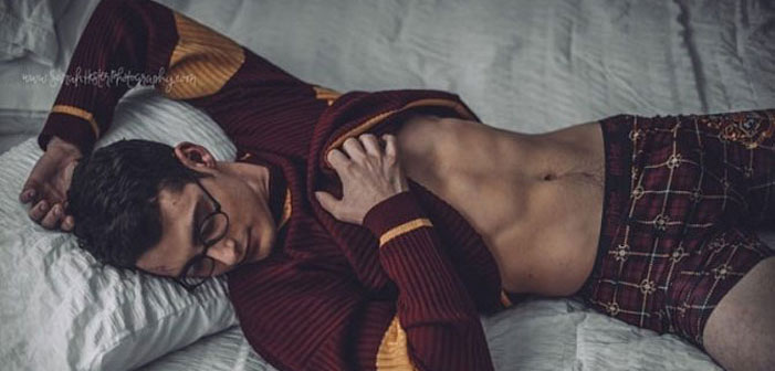 Harry Potter, sexy, wizard, photo shoot, shirtless, bed, stud