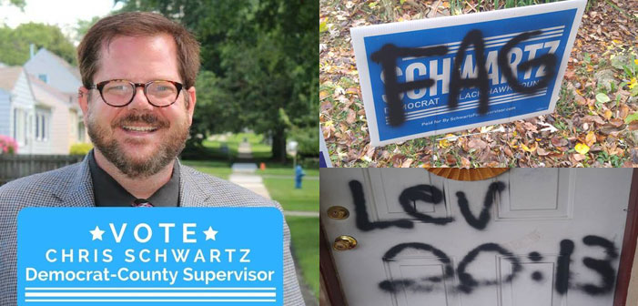 Chris Schwartz, Black Hawk, Iowa, gay, candidate, politician, vandalism, fag,
