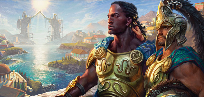 KYNAIOS AND TIRO OF MELETIS, Magic the Gathering, LGBTQ, gay, warriors, bi-racial, Black, White