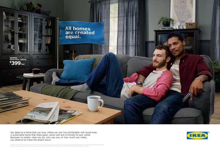 America, IKEA, catalog, gay couple, men, same-sex couple, love, All homes are created equal