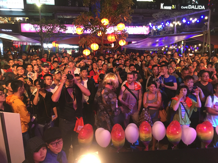 Taiwan, Taiwan Pride, parade, drag queen, Hornet, men, rainbow flags, LGBT, LGBTQ, queer, audience, concert, stage
