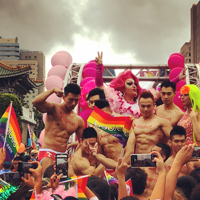 Taiwan, Taiwan Pride, parade, drag queen, Hornet, men, rainbow flags, LGBT, LGBTQ, queer