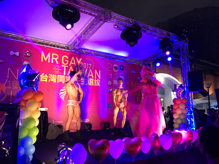 Taiwan, Taiwan Pride, parade, drag queen, Hornet, men, rainbow flags, LGBT, LGBTQ, queer, Mr. Gay Taiwan, Magnolia La Manga, drag queen