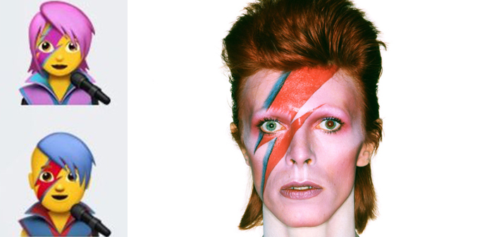 David Bowie, emoji, Aladdin Sane, lightning bolt, makeup, iOS, update
