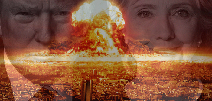 Hillary Clinton, Donald Trump, election 2016, nuclear blast, bomb