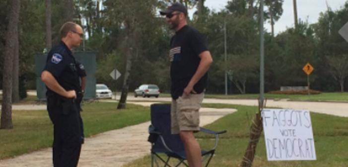 faggots vote democrat, man, police, protestor, sticks, election day, Spring, Texas