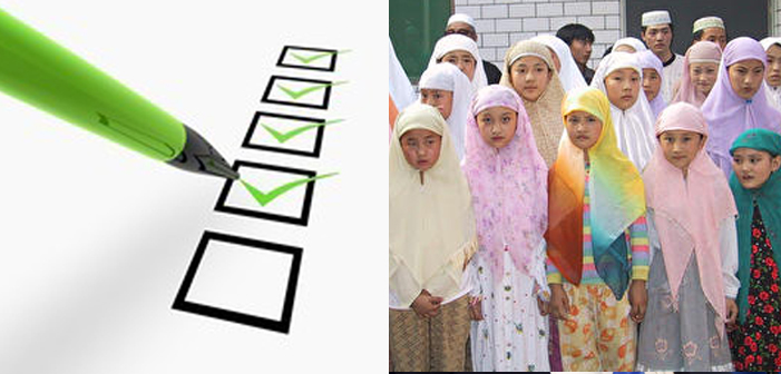 Muslims, registry, children, headscarf, headscarves, kids, green pen, checklist