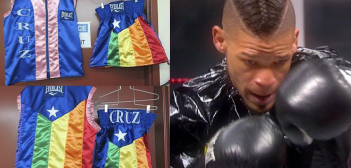 Orlando Cruz, rainbow, boxing trunks, gear, vest, gay, LGBT, LGBTQ, pink, boxing, athlete