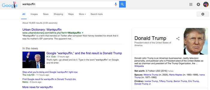 Donald Trump, wankpuffin, Google, search results