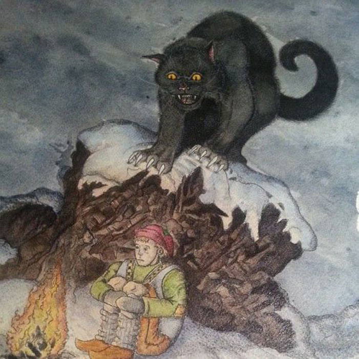 Jolakotturinn, the Yule Cat, the Christmas Cat, feline, boy, Christmas, winter, horror