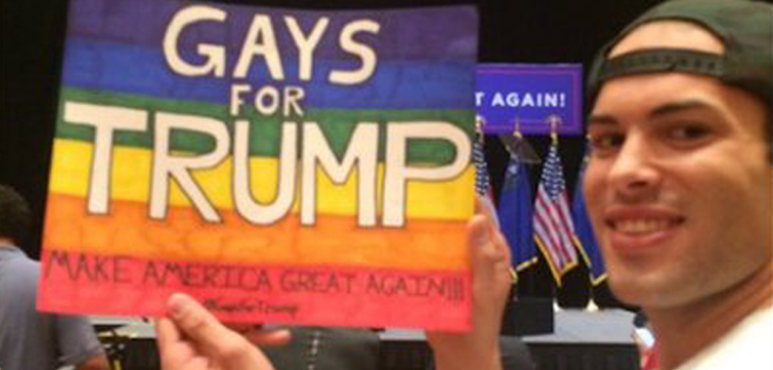 gays for trump, LGBTQ, LGBT, white, caucasian, douchebag, guy, man, male, dude, rainbow flag