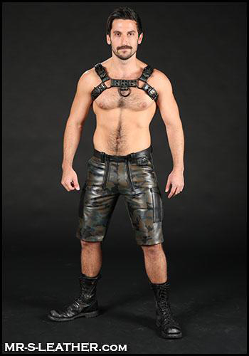 Mr. S, bulldog, leather, harness, man, shirtless, hairy, sexy, beaded