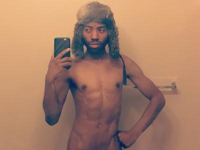 black, african-american, sex worker, selfie, shirtless, slim, muscular, slender, otter, hat, gay