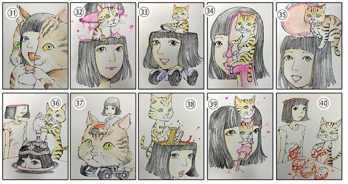shintaro kago, custom portrait, guro, horror, cat