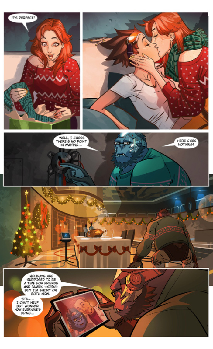Overwatch, Blizzard, Reflections, game, comic, christmas, lesbian, Emily, girlfriend, comic book