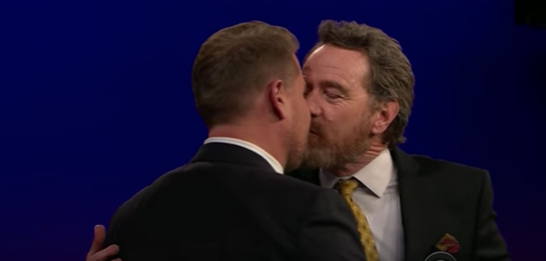 James Corden, Bryan Cranston, kiss, gay, same-sex, homo, homsexual, bro, talk show, smooch, neck
