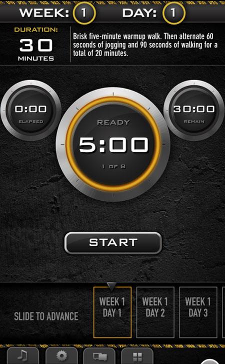 great fitness apps, C25K, app, screenshot, fitness, health, workout