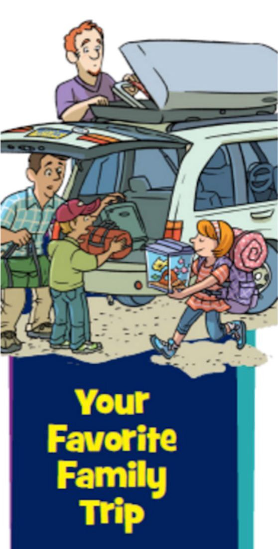 Highlights for Children, gay, same-sex, couple, parents, magazine, cartoon, comic, family trip, fish, packing, car, illustration