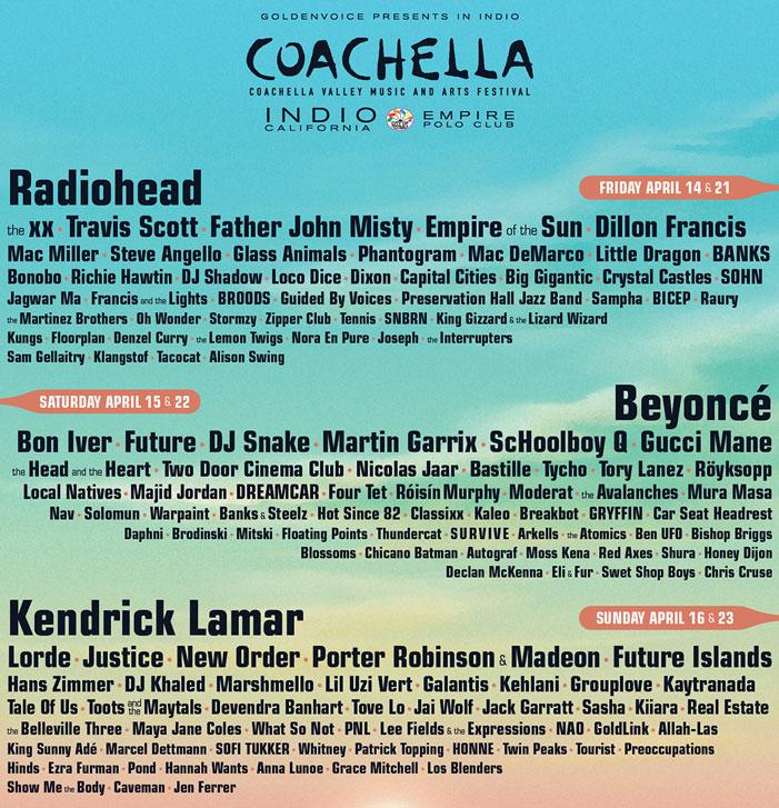 Cochella 2017, lineup, artists, bands, musicians, music, concert, festival, California, April,