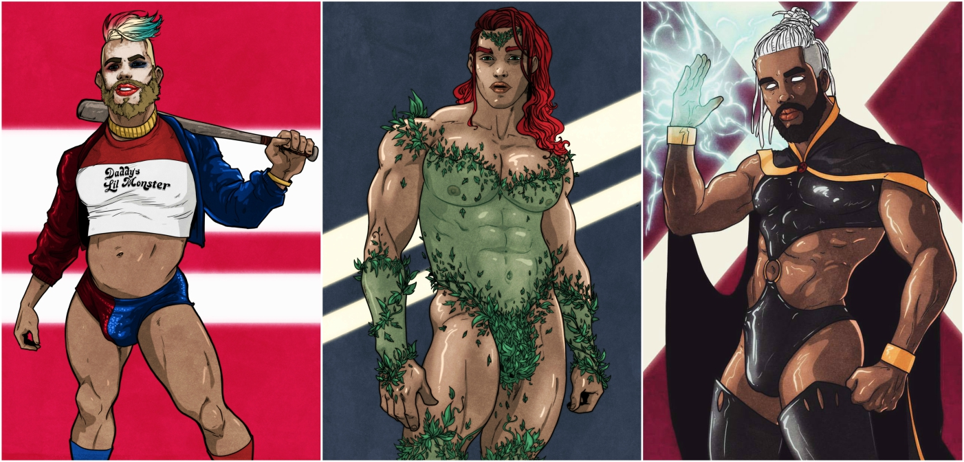 11 Sketches of Female Superheroes and Villains Imagined as Sexy Muscle Hunks