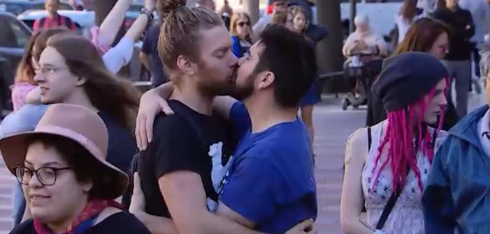 international day against homophobia, Activists Held a Gay Make-Out Protest Outside Trump's D.C. Hotel