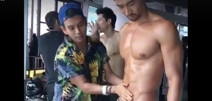 Best Job Ever! This Fashion Assistant Rubs Oil on a Male Model