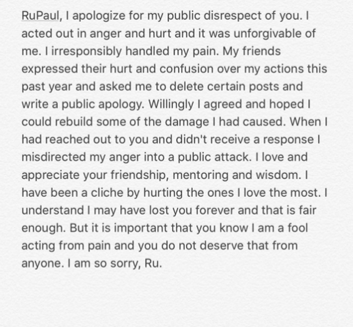 Lucian Piane RuPaul apology 2