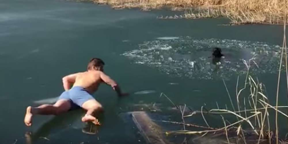 Man with Nice Butt Rescues a Dog Stuck in a Frozen Pond (Video)