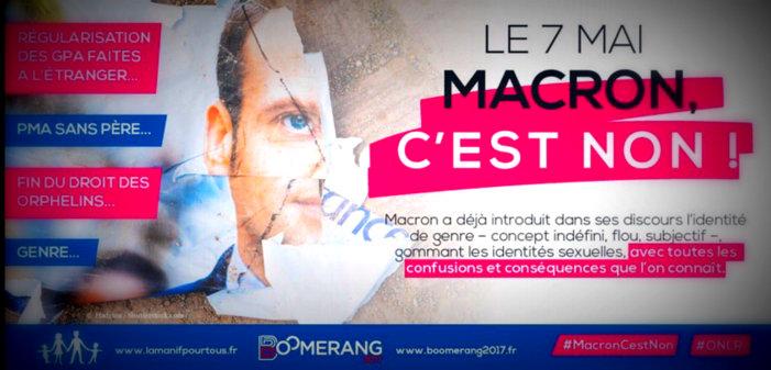 Le mouvement homophobe «La Manif pour tous» appelle à voter contre Emmanuel Macron