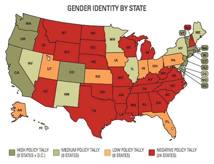 transgender women turned away, transgender rights map, united states, gender identity