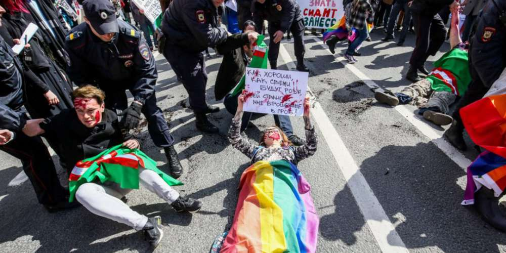 Russian Police Forcefully Detain LGBTQ Activists During May Day Protests