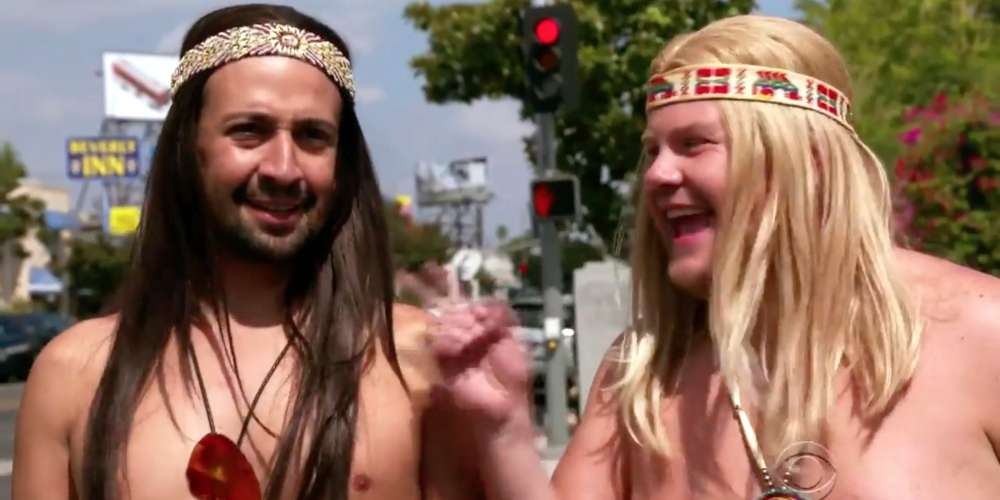 Watch Lin-Manuel Miranda and James Corden Strip Completely Nude During a Performance of 'Hair'
