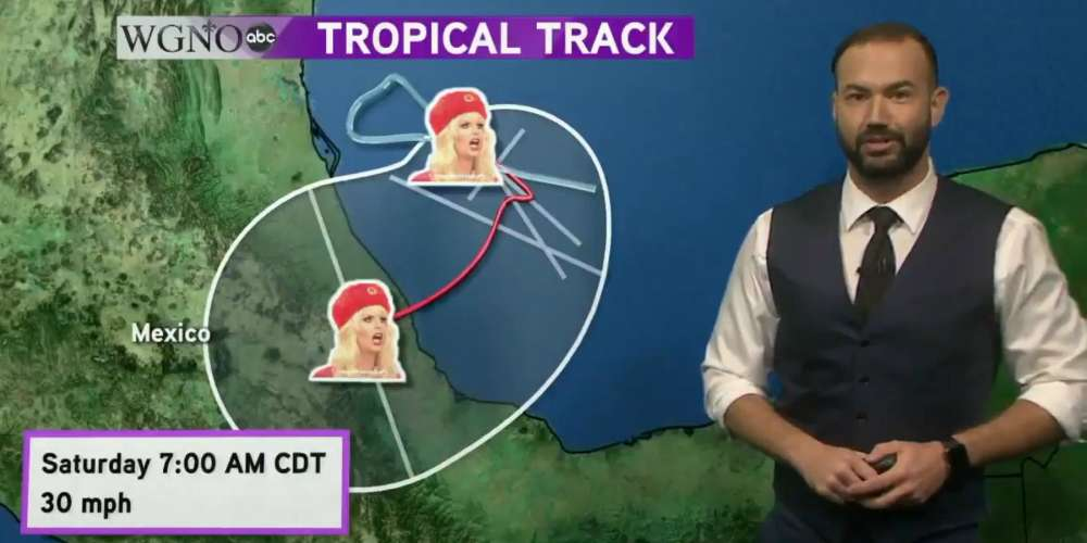 Watch This Handsome Weatherman Give Hurricane Katia a 'Drag Race' Makeover