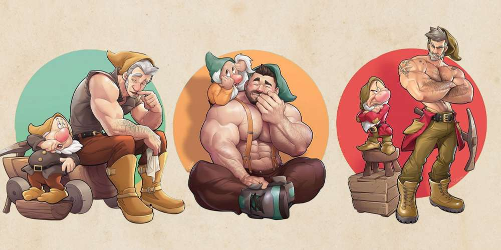 An Artist Has Reimagined the 'Seven Dwarfs' as Muscular Pin-Up Hunks